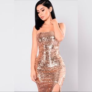 Rose Gold Sequin Strapless Dress XS